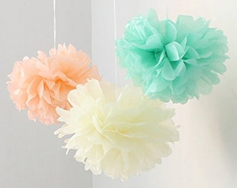 12pcs Mixed Peach Ivory Mint  DIY Tissue Paper Flower Pom Poms Wedding Birthday Nursery Hanging Decoration