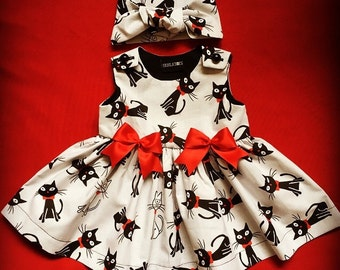 Skeletots  gothic black cats dress.. Girls ages 2-6