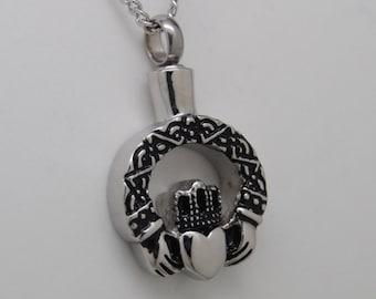 Claddagh Cremation Urn Necklace || Irish Ashes Keepsake || Memorial Keepsake Necklace
