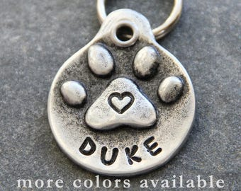 Dog Tag Personalized Pet Tag Dog ID Tag Dog Name Tag Handmade Puppy Collar Tag Paw Print with Heart Gifts for Pets