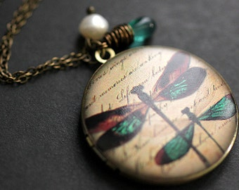 Teal Dragonfly Locket Necklace. Dragonfly Necklace with Teal Teardrop and Fresh Water Pearl. Handmade Jewellery.