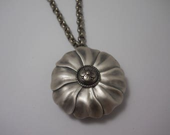 Large Silver Flower Necklace Statement Repurposed Up Cycled One of a Kind Unique Gift Secret Compartment Necklace Locket
