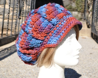 Fine Wool Hat - Blue, Purple and Red Crocheted Newsboy Hat - Women's Wool Hat Newsboy Style - Multicolored Hat