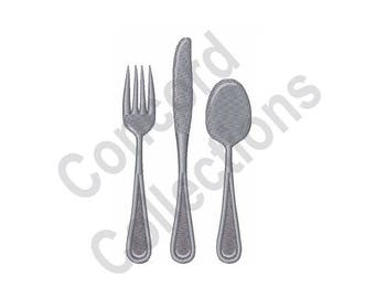 Fork Knife Spoon Machine Embroidery Design