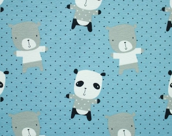 Jersey fabric, printed cotton jersey PANDA print