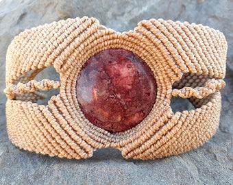 Macrame Bracelet with Rhodochrosite