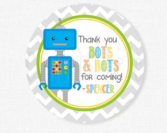Robot Party Favors, Robot Favor Tags, Boy Robot Birthday Favors, Thank You Bots and Bots Tag, Personalized