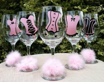 15 Personalized Corset Bachelorette Party Wine Glasses