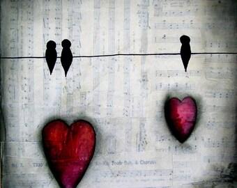 Original Mischtechnik Kunst Malerei abstrakte Vögel und Lovehearts 10 x 10 Zoll auf Chunky Box-Leinwand