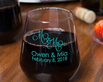 192 Personalized 12oz Plastic Stemless Wine Glasses Custom Wedding Favors or Great for Bars Patio Events