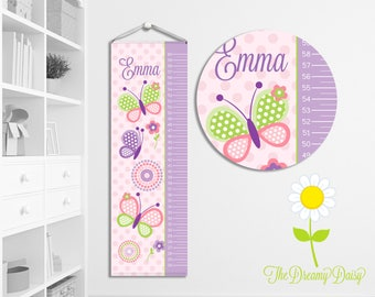 Personalized Butterfly Growth Chart for Girls - Custom Pink & Purple Butterfly Growth Chart w/ Name - Wall Height Chart - Kids' Room Decor