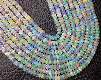 15 Inch Long, AAA Quality, ETHIOPIAN Opal Smooth Rondelles,2.75-3.5mm size,Superb Promotional Price Offer