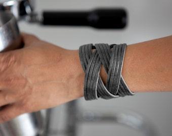 Grey Leather Cuff - the Jazz bracelet