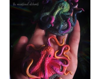 Octopus sculpture - customizable design, choose up to two colors - cephalopod sculpture from colorful clay