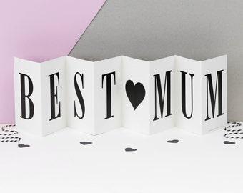 Best Mum Concertina Card; Mother Birthday Card; Card For Mothers; Best Mum Card; Card For Moms; Keepsake Card For Mum; Love Mom; CC009