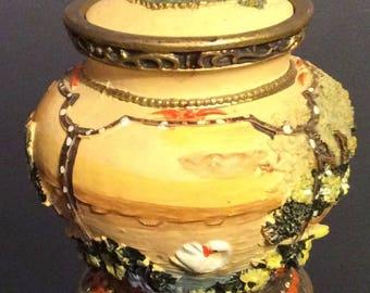 """Beautifully Painted Music Trinket/Urn or Ginger Jar Plays """"Love Me Tender"""""""