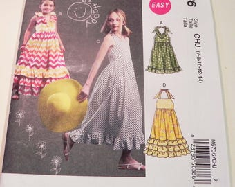 "Girls  Dress Halter Sundress ruffle gathered skirt sleeveless easy sewing pattern McCalls 6736 Size 7 8 10 12 14 Bust 26 27 28.5 30 32"" FF"