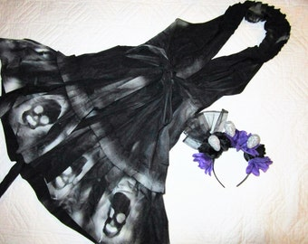 Day of the Dead Costume  dress  womens size 10 unique Halloween Dia de los Muertos sugar skull dead Senorita gothic Mexican dancer