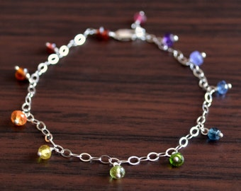 Rainbow Anklet, Child Jewelry, Real Gemstones, Wire Wrapped, Colorful, Sterling Silver Jewelry