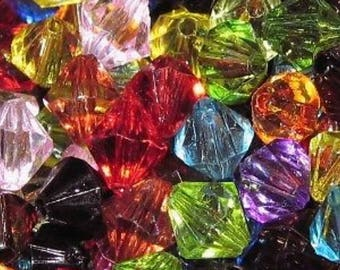 25g - 4,6,8mm Mixed Acrylic Faceted Bicone Beads