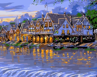 Paint by number kit 50*100cm, DIY Painting House on Water painting picture on canvas paint coloring by number DIY Painting Gift