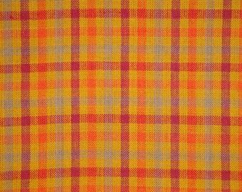 Cotton Homespun Material | Orange Check Material | Cotton Material | Quilt Material | Home Decor Material | Primitive Sewing Material