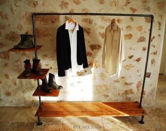 garment rack,Industrial Pipe Clothing Rack,Wall Mounted Rack,clothes pipe shelf,pipe clothes rack,steampunk rack,bookshelve, choose the wide