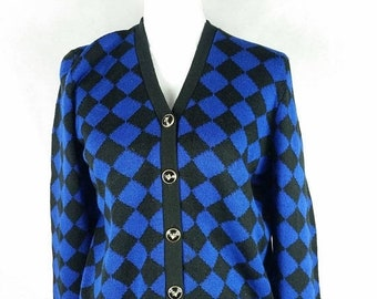 30% SPRING SALE Vintage Dylani Knitwear Diamond Argyle Blue Black Gold Button Down Preppy Long Sleeve Sweater Cardigan Sz Medium