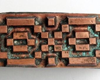 ABSTRACT Cross Stitch 1903-1953 Antique GERMAN Copper Letterpress Cut printing block Pattern