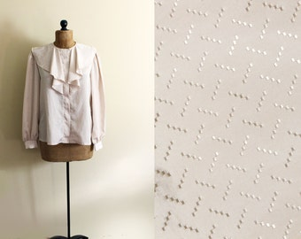 vintage blouse champagne ruffle renaissance collar 1970s clothing retro size large l