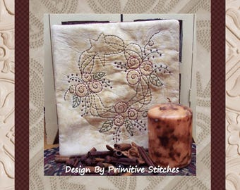Prim Rose Wreath-Primitive Stitchery E-PATTERN-by Primitive Stitches-Instant Download