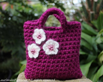 CROCHET PATTERNS - Little Girls Little Purse with cherry blossoms, bag pattern - Listing58