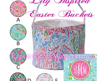 Get it by Easter if ordered by 12pm EST 3/26 - Monogrammed Basket / Bucket Personalized Lilly Pulitzer Inspired Organizer