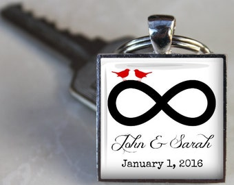 Custom Infinity Anniversary or Wedding Key Chain - Names and Date - Custom Key Chain - Personalized