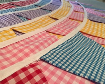 Bright Colourful Gingham Bunting