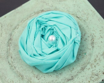 Aqua Flower Pin, Rosette, Rolled Flower Pin, Cute Flower Pin for Handbag or accessory, custom printable art, custom color prints