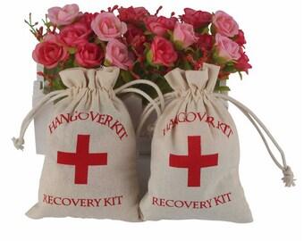 10Pcs Cotton Hangover Kit Bags, Wedding Party Accessories