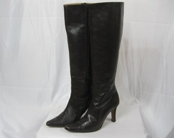 Brown Leather Tall Manolo Blahnik Boots Size 36