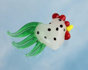One large milky white lampwork glass rooster bead- semi translucent white with black spots and a green tail- chicken - DIY jewelry & crafts
