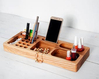 Ash Wood Makeup Desk Organizer, Cosmetic Organizer, Makeup Brush Holder, Desk Accessories for Women, Accessories Rack, Unique Gift for Women
