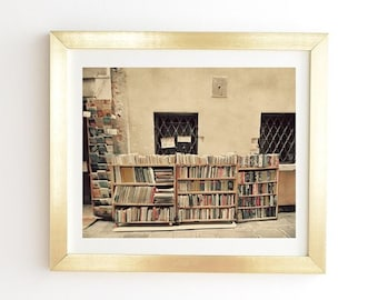 Vintage Bookshop in Venice Art Print Ready-to-Hang Framed Wall Art, Gold White Framed Print, Birthday Gift for Intrepid Travellers Bookworms