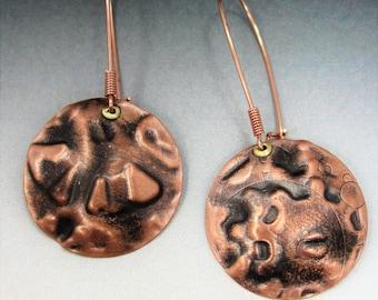 Copper Disc Earrings. Steampunk Earrings