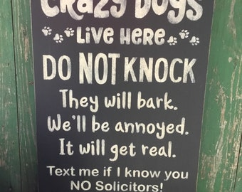 Crazy Dogs, style 2, Word Art, Typography, Subway Art, Primitive Wood Wall Sign, Handmade