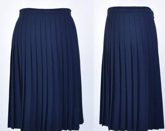 Vintage 80s navy pleated lined midi skirt size 14-16