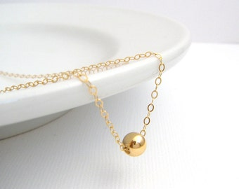"gold bead necklace. 14K yellow gold filled. round. small. dainty. 16"" delicate tiny gold necklace. simple everyday jewelry. choker 6 mm bead"