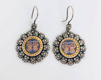 Tribal earrings, 925 Silver Earrings, Sterling Silver Earrings, Oxidised silver earrings, floral earrings, painting earrings, Round earrings