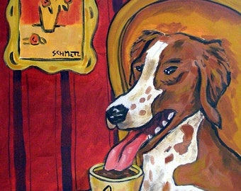 25% off Brittany , brittany dog art, brittany print on tile, ceramic coaster, gift, coffee art, coffee print on tile, coffee gift