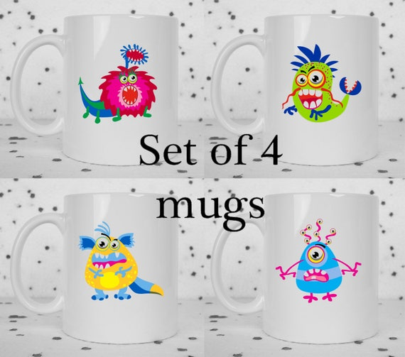 Set of 4 cute monster mugs