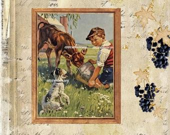 Dog Art, Boy's Room Art, Farm House Art, Kitchen Art, Bedroom Art, Guest Room Art, Boy's Nursery Art   #502