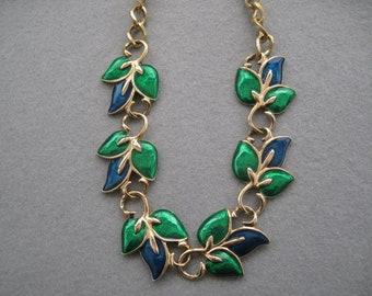 "Quality Vintage Blue & Green Enamel Necklace 19"""